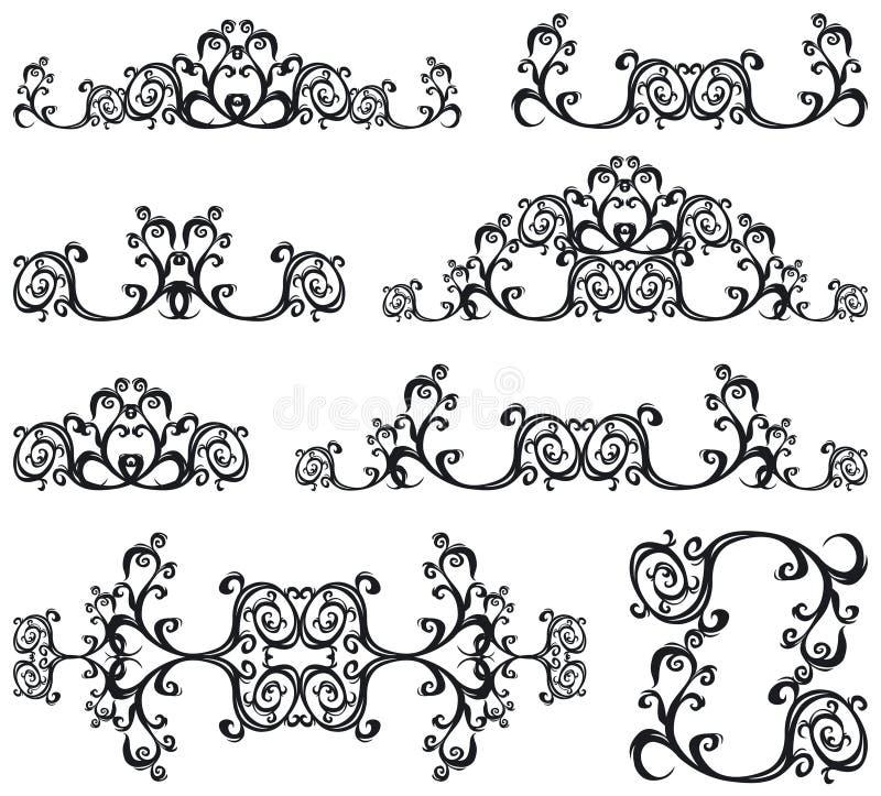 Decorative set III b&w. Decorative set. 8 black floral elements stock illustration
