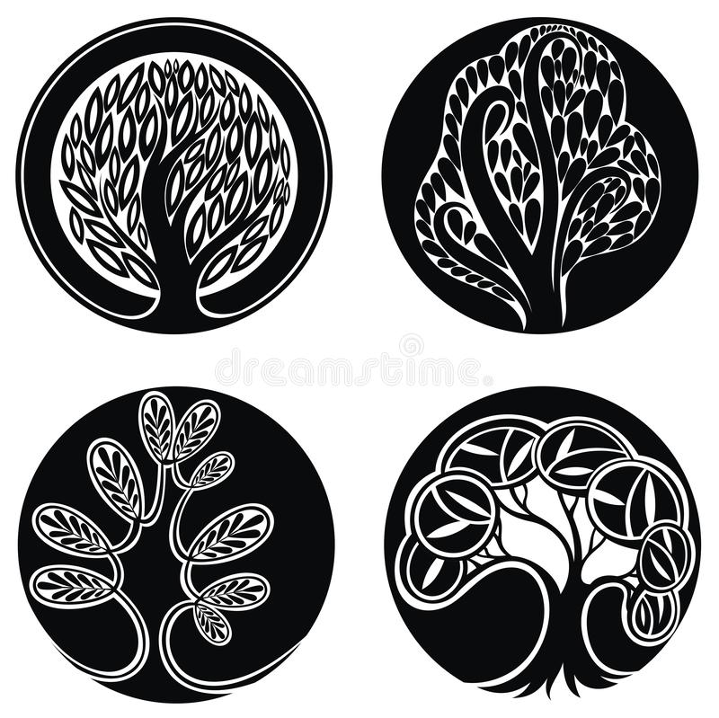 Vector trees. Set of logo design elements on white royalty free illustration