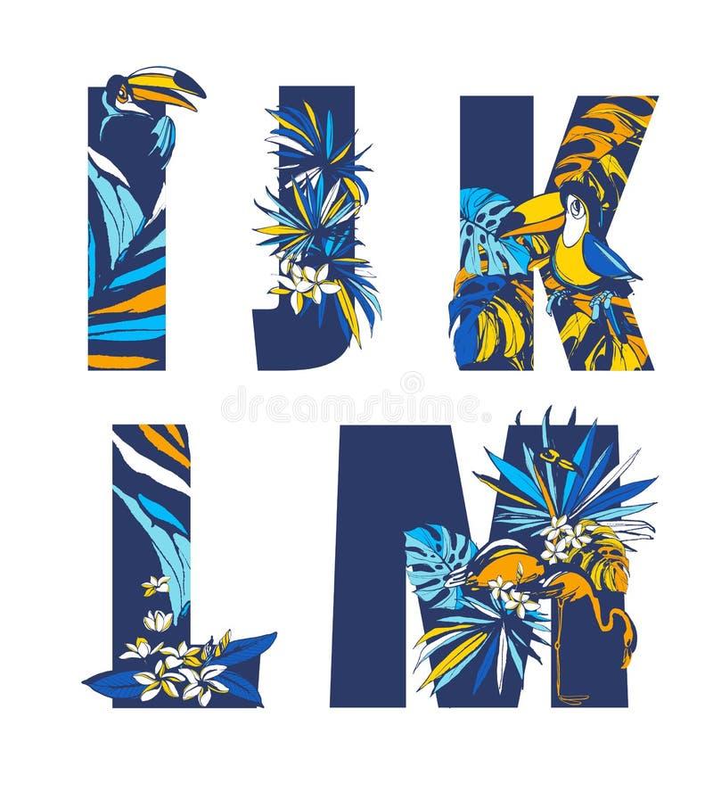 Free Decorative Set Tropical Pattern Letters Alphabet Font Hand Drawn Floral Ornament Stock Photos - 134575863