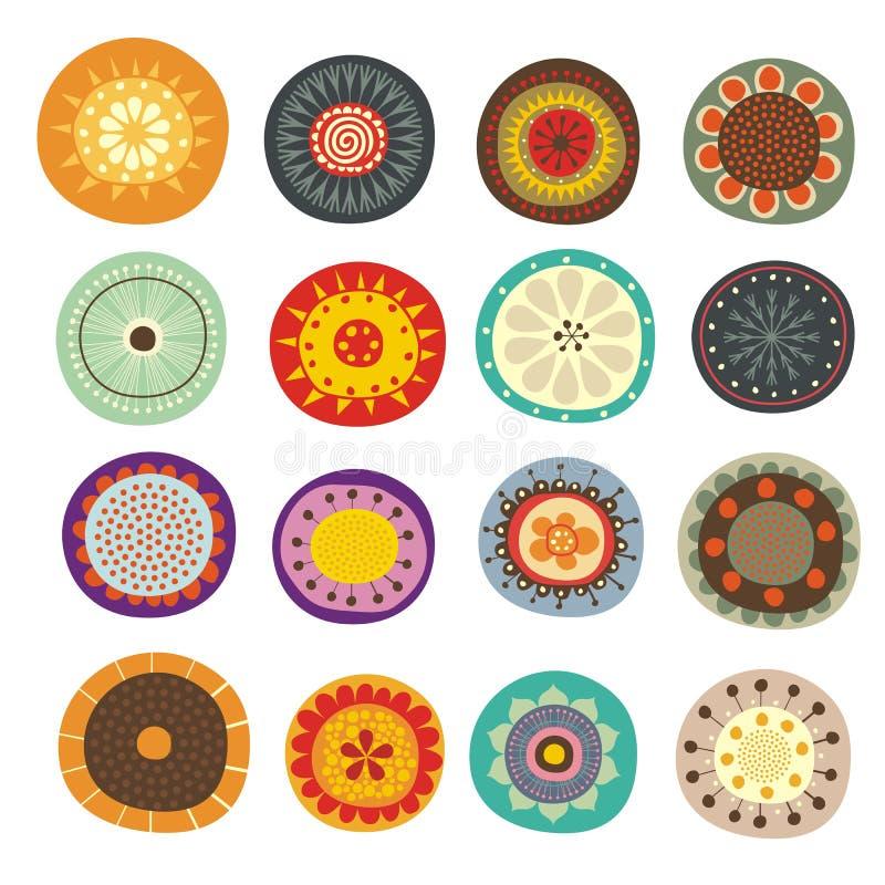Fantasy floral set. Decorative set with various floral fantasy shapes stock illustration