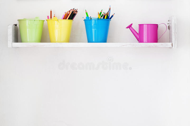 Decorative shelf. On white wall as detail of kid interior stock photo