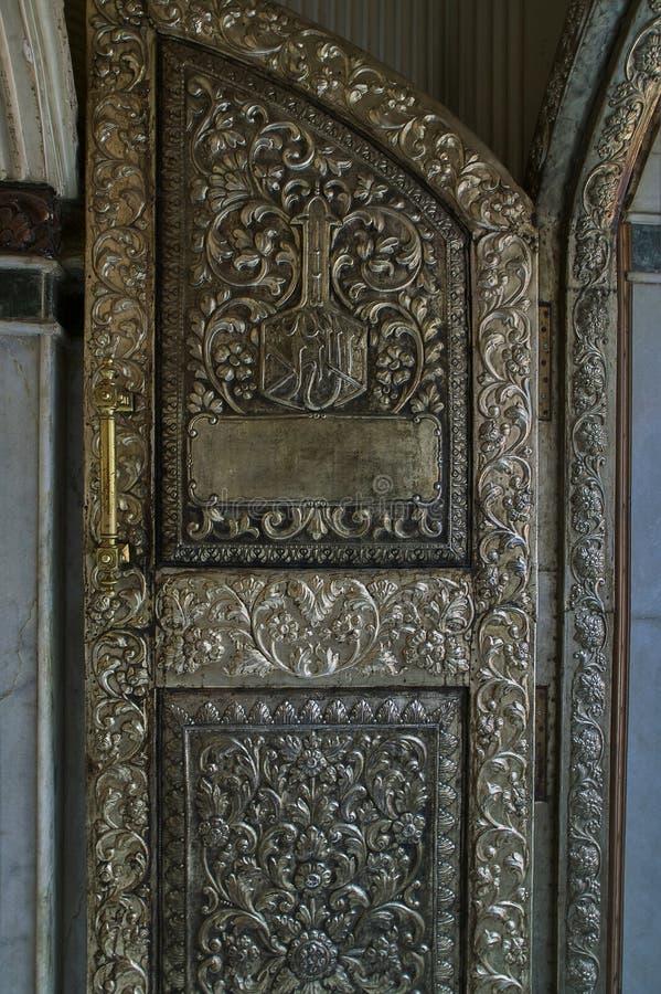 Decorative silver door at Nizamuddin Dargah mausoleum of Khwaja Nizamuddin Auliya  Nizamuddin West area of Delhi, royalty free stock image