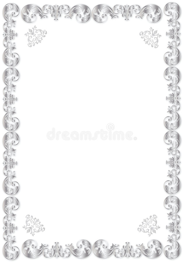 Decorative Silver Frame Stock Images