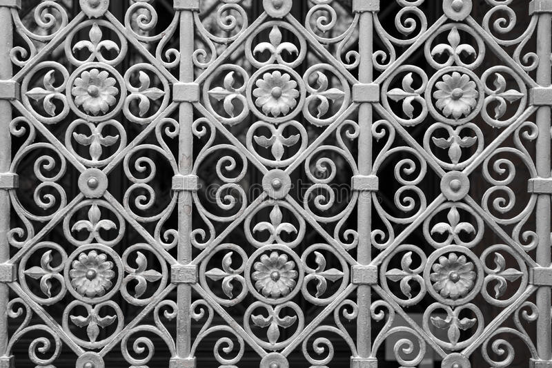 Decorative silver metal gate stock images