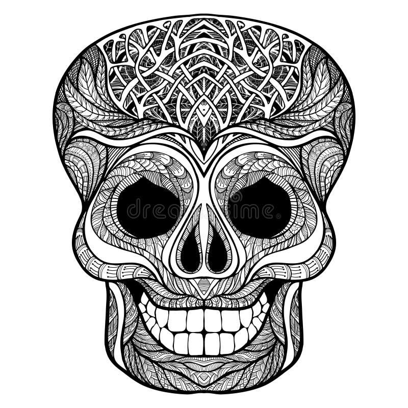 Decorative Skull Black Doodle Icon Stock Vector Illustration Of
