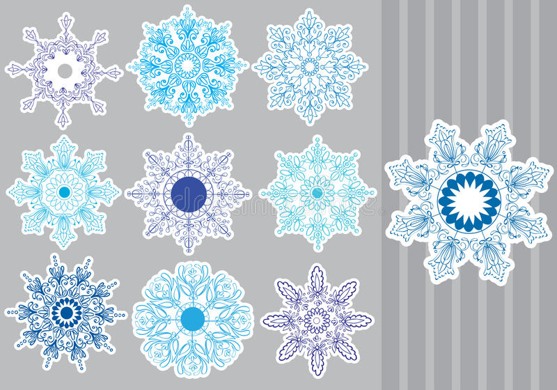 Download Decorative Snowflakes set stock vector. Illustration of floral - 27853681