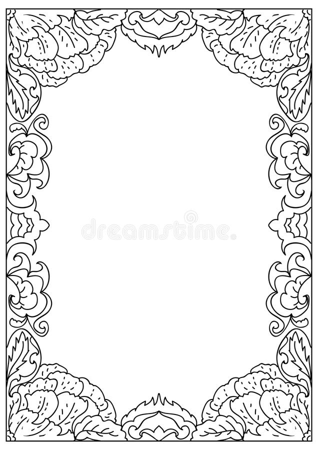 Decorative Square A4 Format Coloring Page Frame Isolated