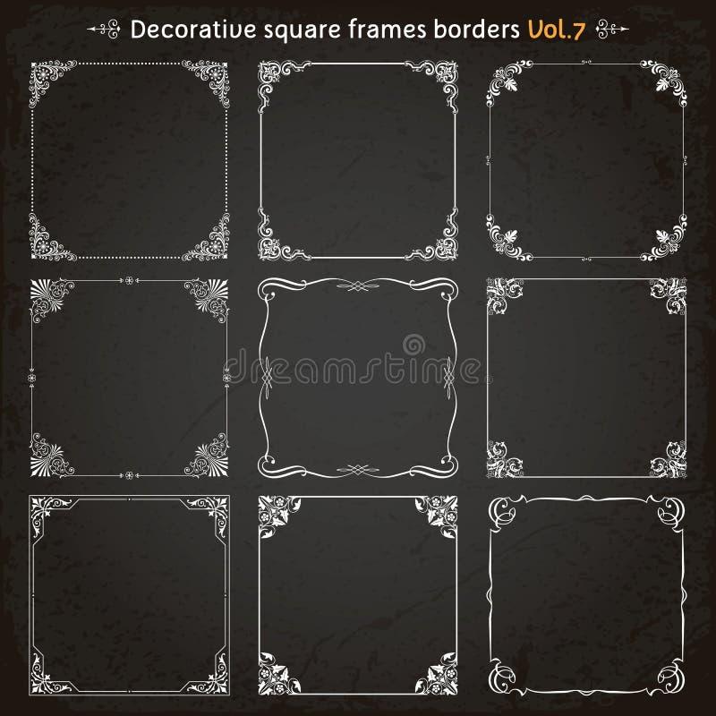 Decorative square frames and borders set 7 vector. Decorative square frames borders backgrounds design elements set 7 vector stock illustration