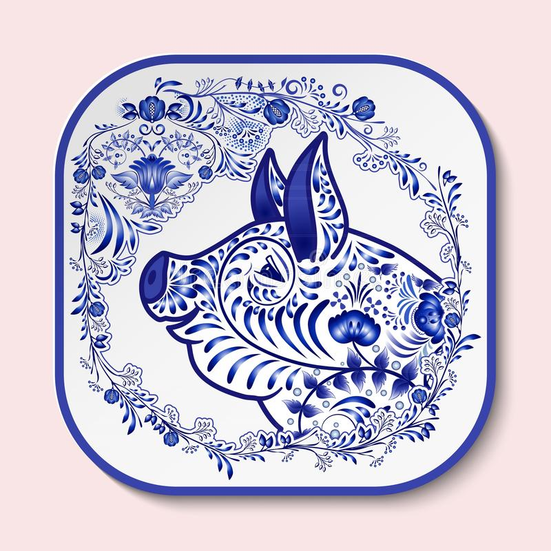 Decorative square plate with blue patterned head of a pig. Symbol of new year 2019 isolated on pink background vector illustration