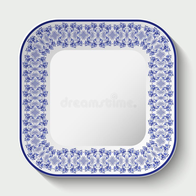 Decorative square plate with ornament in Gzhel style of national painting on porcelain. Vector illustration royalty free illustration