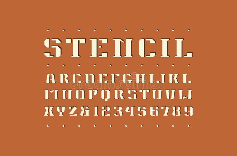 Decorative square stencil-plate serif font. Bold face. Letters and numbers for logo and emblem design stock illustration