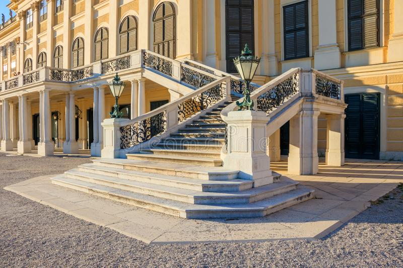 Decorative stairs in Schoenbrunn Palace Park, Vienna, Austria. Vienna, Austria - September 3, 2019: Decorative stairs in Schoenbrunn Palace Park, Vienna, Austria royalty free stock image