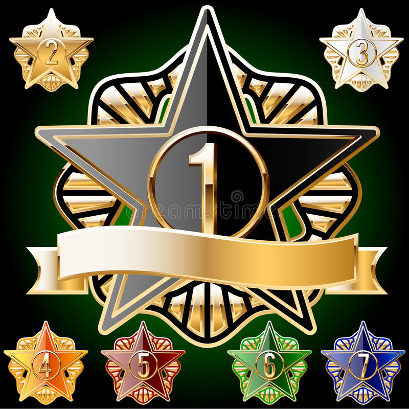 Decorative Star Set Of Gold And Different Colours Stock Photography