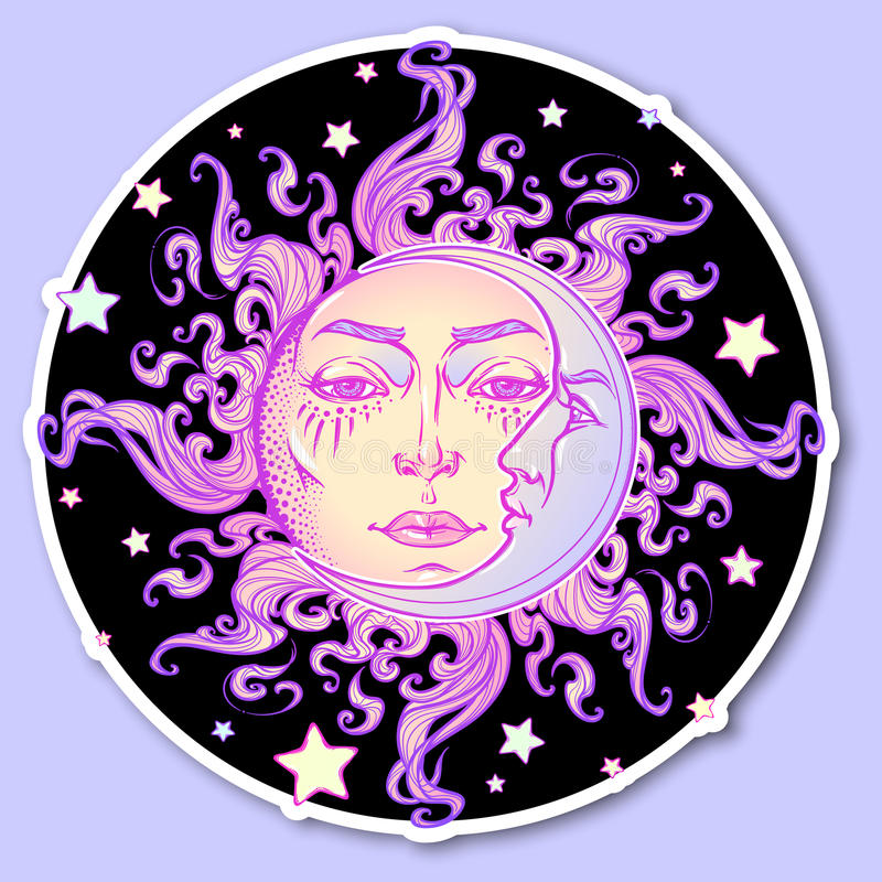 Decorative sticker. Fairytale style hand drawn sun and crescent moon with a human face on a starry night background stock illustration