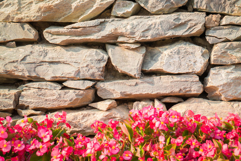 Decorative Stone Walls decorative stone wall with colorful flowers stock image - image