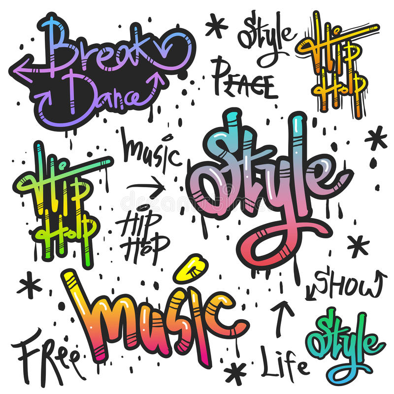 Decorative street graffiti art in various color vector illustration