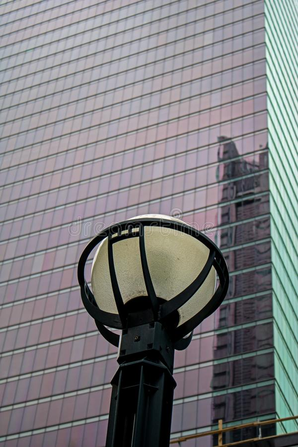 Lamp Post In Front Of A Downtown Toronto Skyscraper stock photos