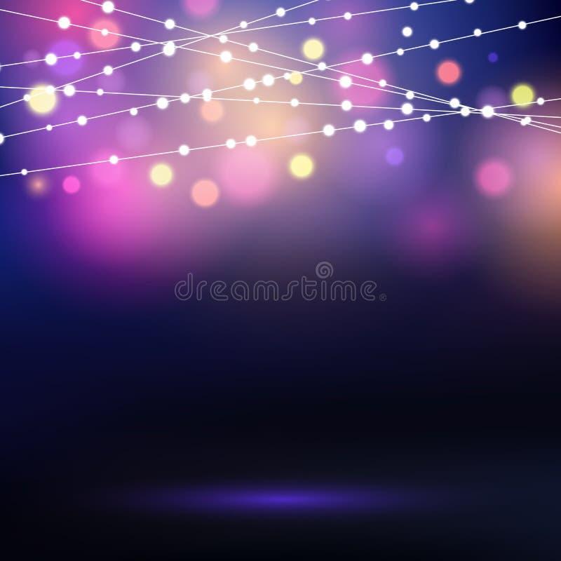 Decorative string lights. Holiday background with decorative string lights stock illustration