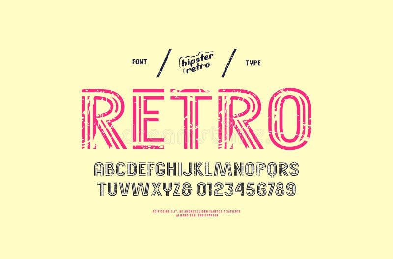 Decorative striped sans serif font royalty free illustration