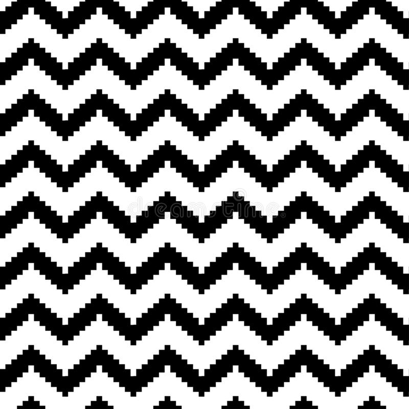 Decorative striped seamless pattern in zig zag, classic chevron print, black and white design. Vector. Illustration royalty free illustration
