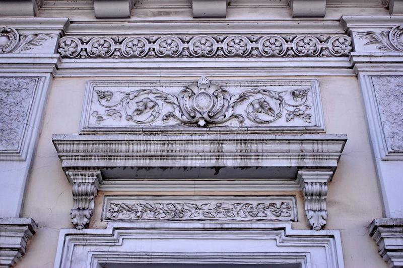 Decorative stucco elements on the building of the 19th cent stock image