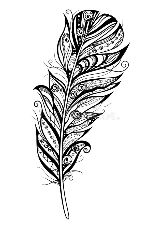 Decorative stylized feather on white background. Highly detailed ornate vector illustration doodling and zentangle style stock illustration