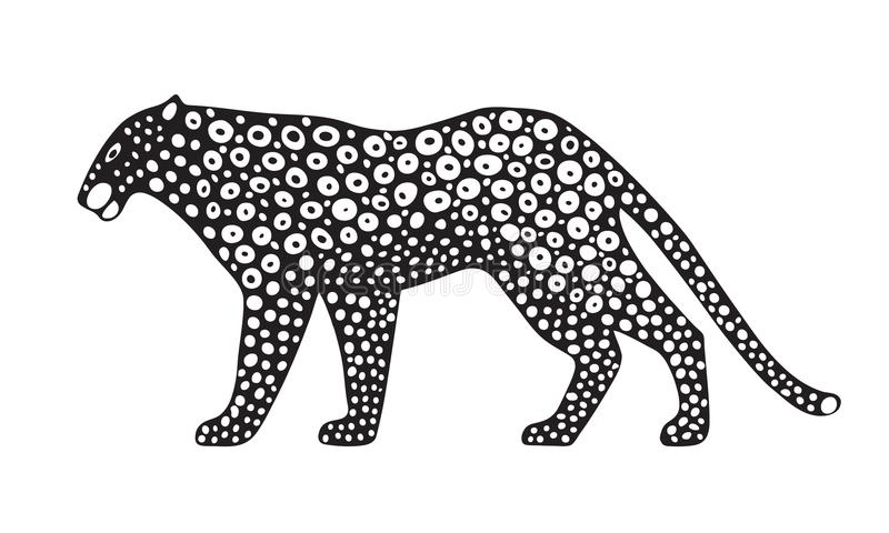 Decorative stylized jaguar wildcat. Vector animal illustration. Isolated on white background. vector illustration