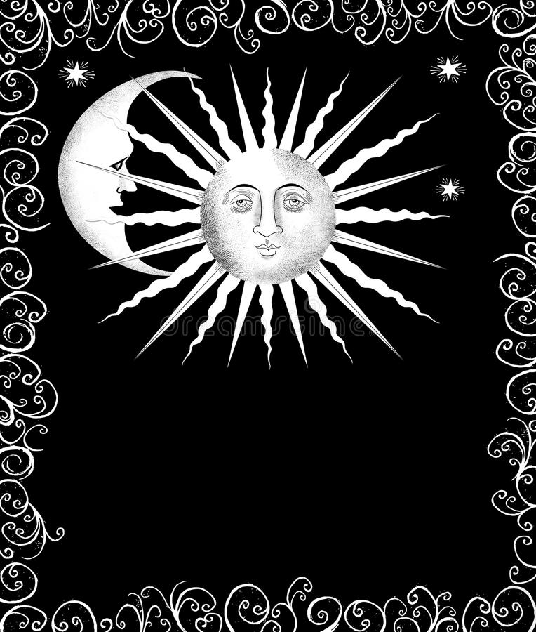Decorative Sun and Moon Faces royalty free illustration