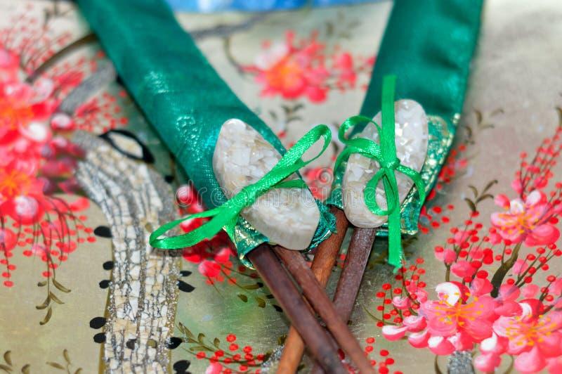 Decorative sushi food items. Japanese cuisine stock photo