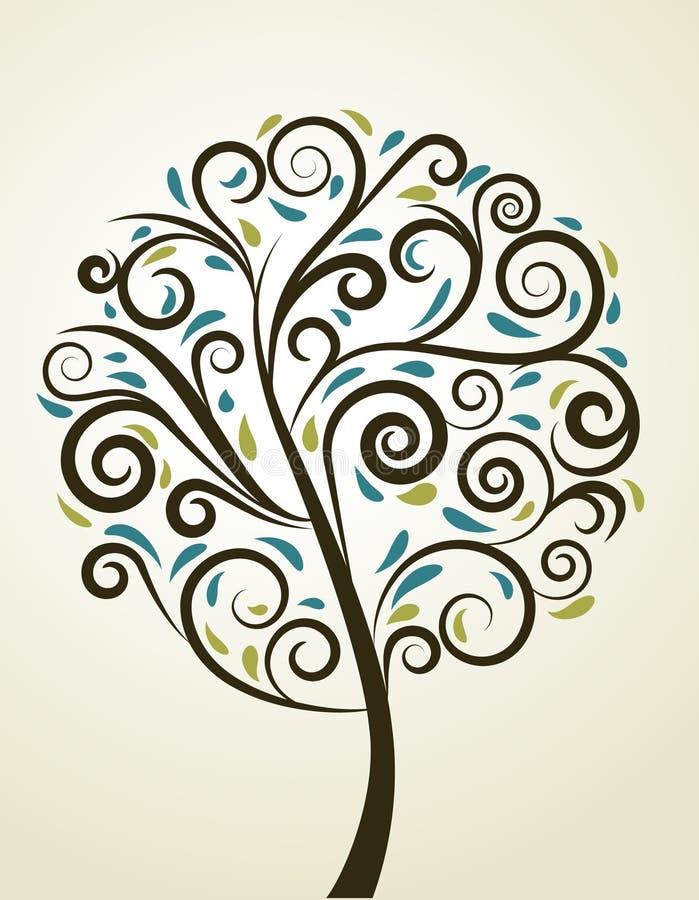Decorative swirl floral tree, vector