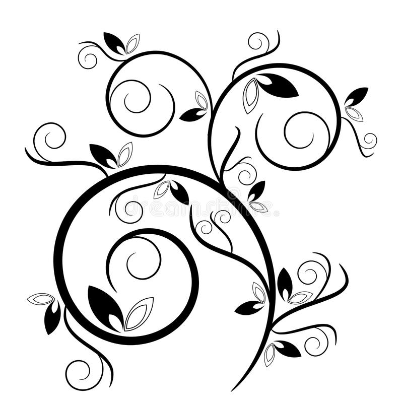 Download Decorative Swirl With Leaves Stock Vector - Illustration: 10654290