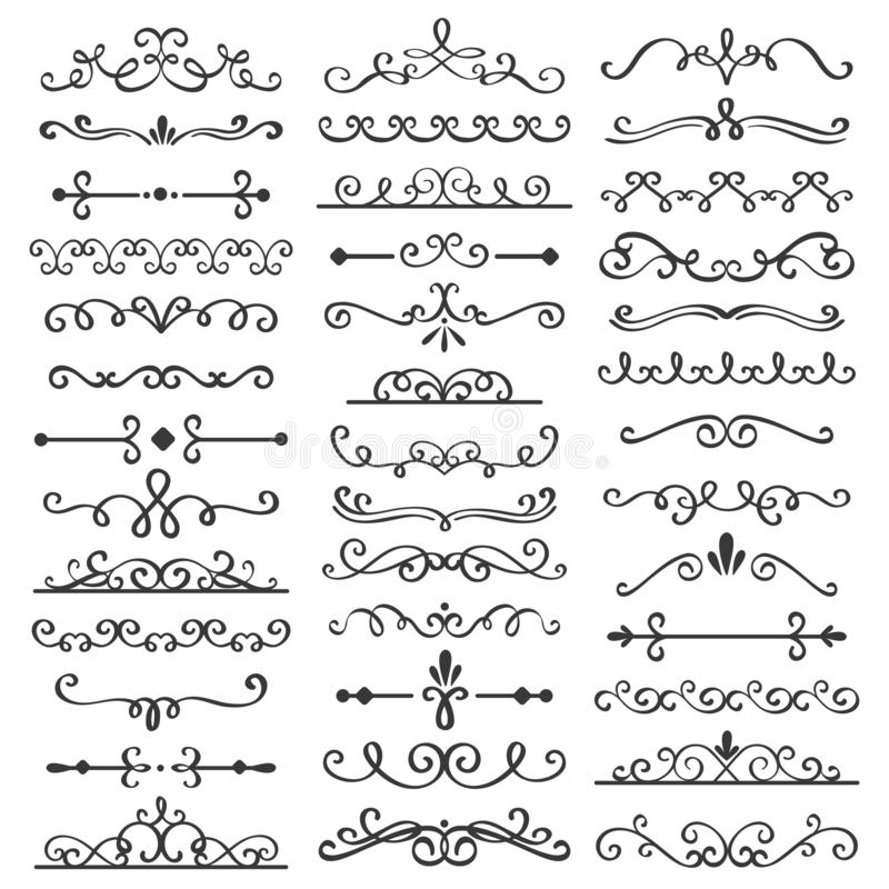Decorative swirls dividers. Old text delimiter, calligraphic swirl border ornaments and vintage divider vector set royalty free illustration