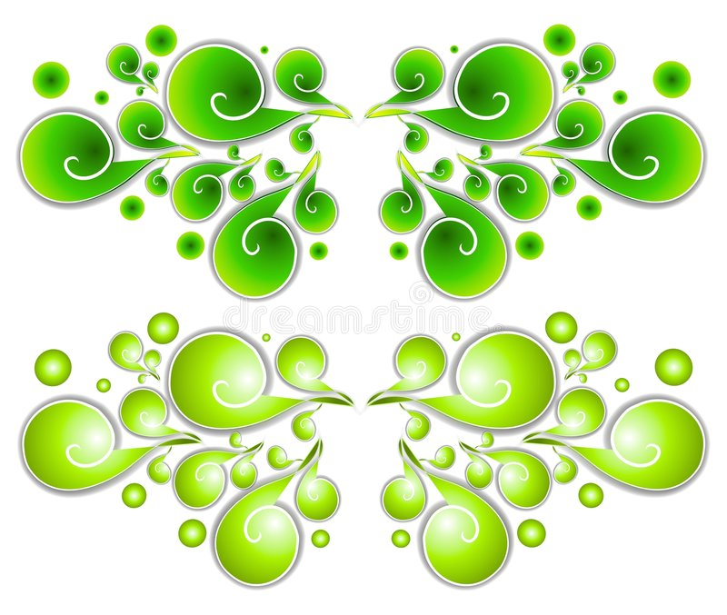 Decorative Swirls Spirals 1. A collection of decorative swirls and spirals clipart in green gradient colors vector illustration
