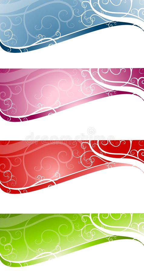 Decorative Swirls Swoosh Web Page Logos vector illustration