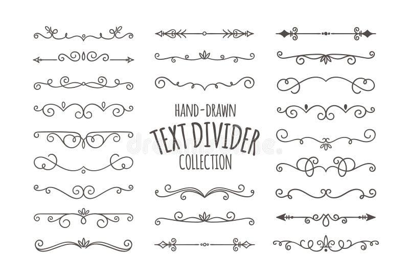 Decorative swirls text divider set. Decorative swirls dividers. Hand drawn calligraphic swirl ornaments isolated on white background. Vector illustration stock illustration