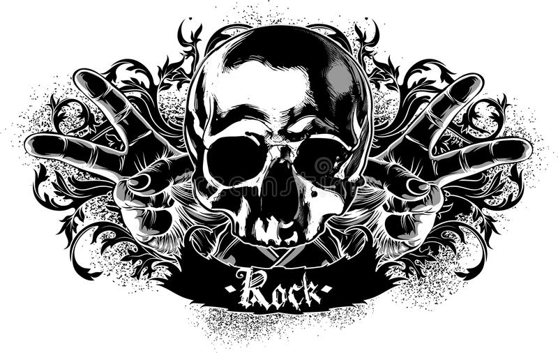 Decorative symbol of rock. With skull, this illustration may be useful as designer work royalty free illustration