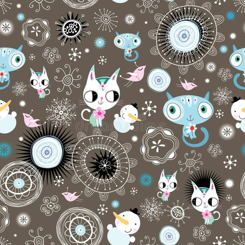 Download Decorative Texture With Kittens And Snowmen Stock Vector - Image: 22008729