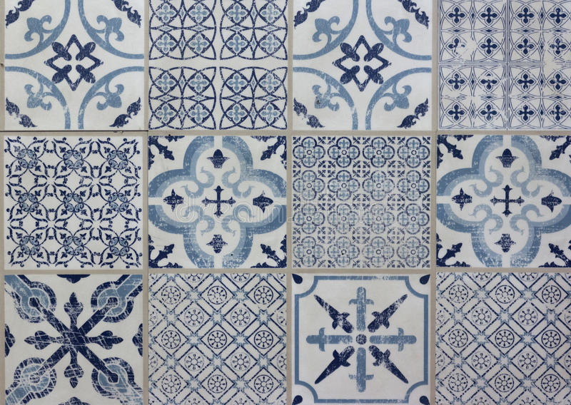 Decorative tile pattern patchwork design - blue, white. Decorative tile pattern patchwork design . white, blue stock photography