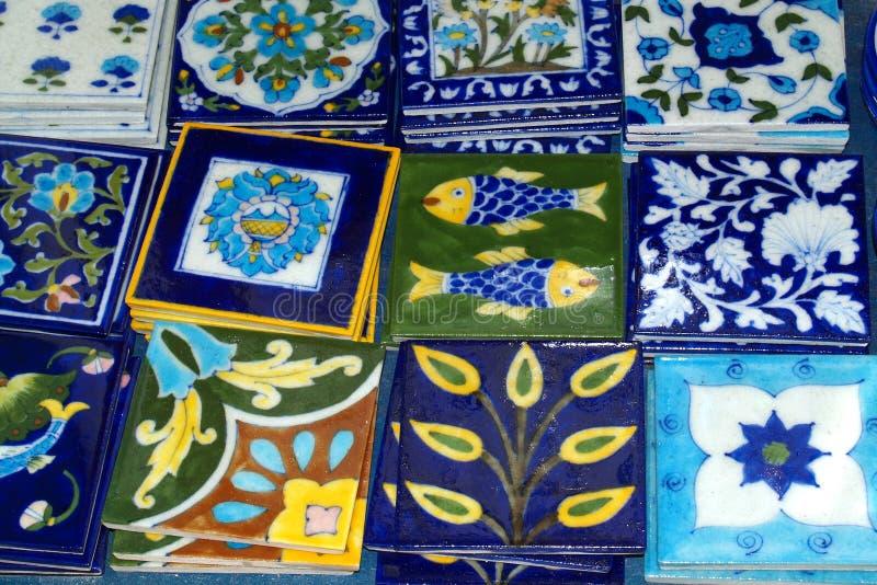Decorative Tiles, Oia, Greece royalty free stock photos