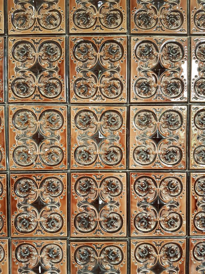 Decorative tiles. Vintage tiles close up. royalty free stock image