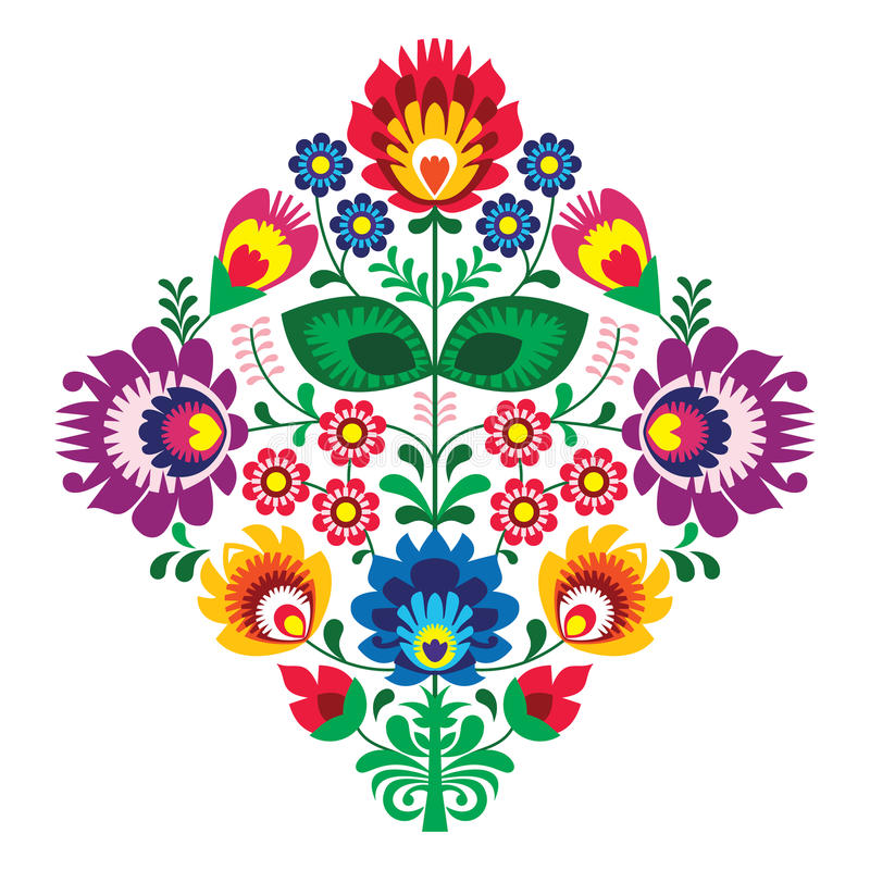 Folk embroidery with flowers - traditional polish pattern stock illustration