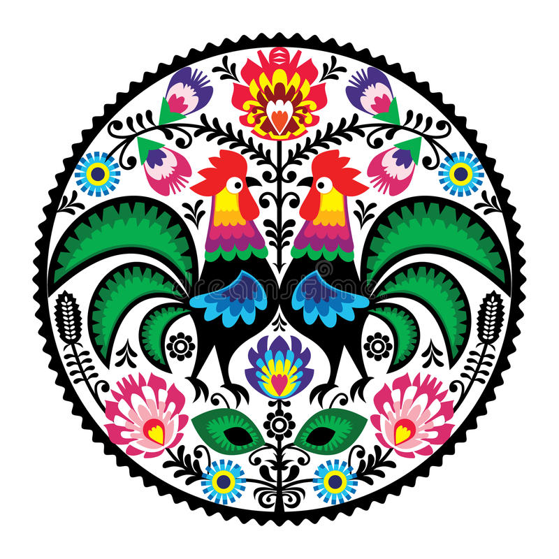 Polish floral embroidery with roosters - traditional folk pattern vector illustration