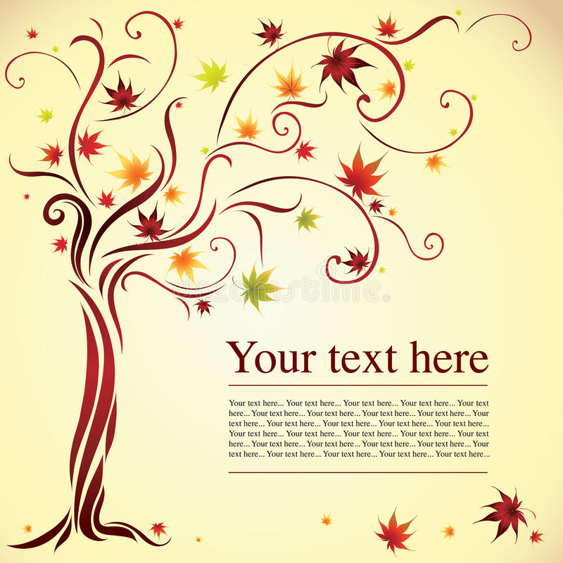 Decorative tree from autumn leafs vector illustration