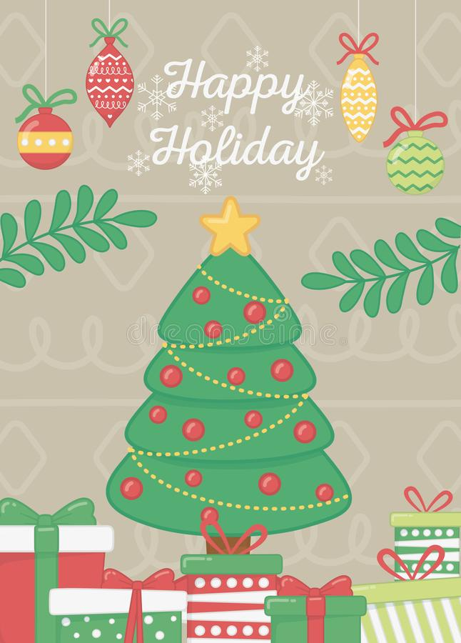 Decorative tree with balls star gifts branches celebration happy holiday poster. Vector illustration royalty free illustration