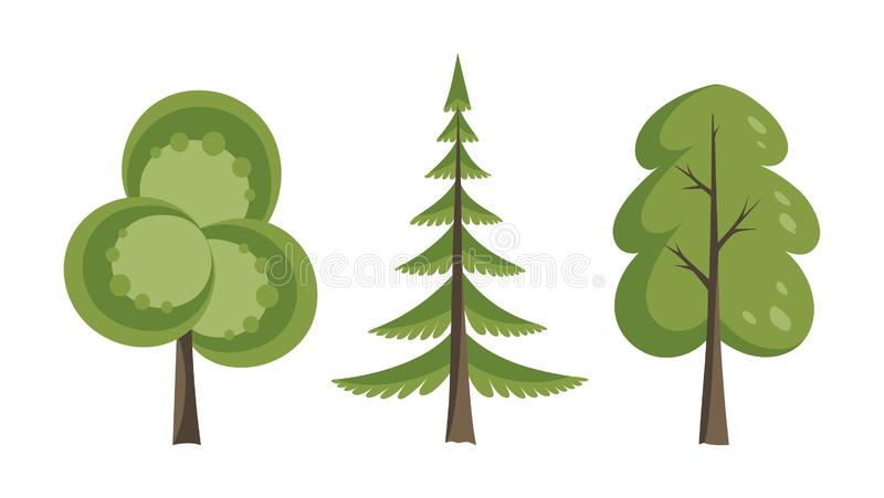 Decorative trees icon set. Flat trees in a flat design. Isolated on white. Vector icons. vector illustration