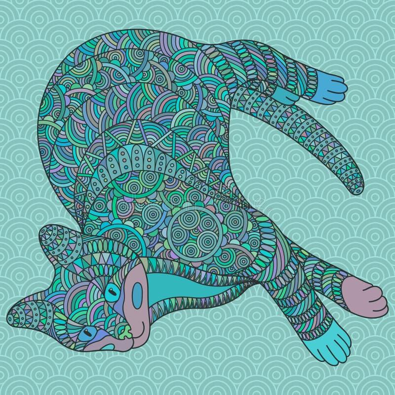 Decorative turquoise cat. vector illustration