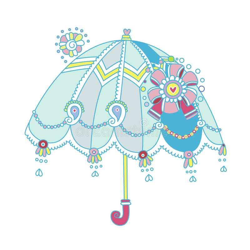 Decorative umbrella design with cute details. Pretty illustration of an umbrella with lace, beads, paisley and bow. Lovely and unique, this design has flat stock illustration
