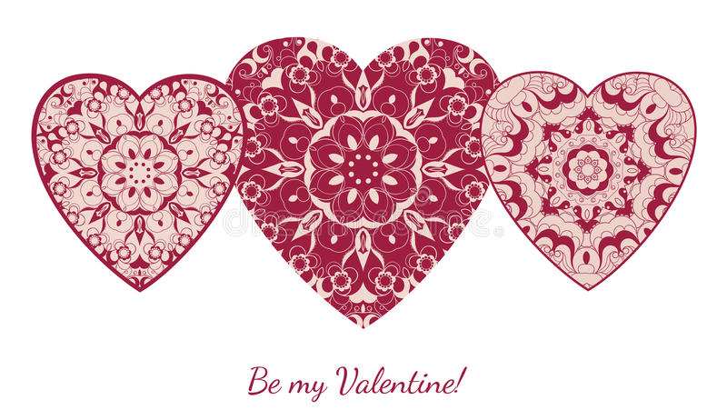 Decorative Valentine greeting card with floral ornate hearts. Vector illustration EPS 10 royalty free illustration
