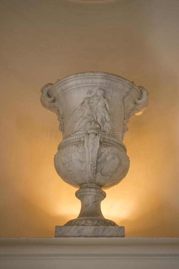 Decorative vase of artistic value. Decorated with ancient religious images. stock photo