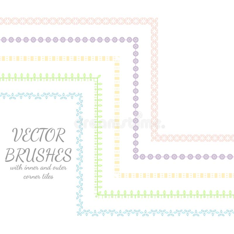 Decorative vector brushes with inner and outer corner tiles. vector illustration